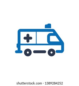 Ambulance Vehicle color Icon Vector on white background