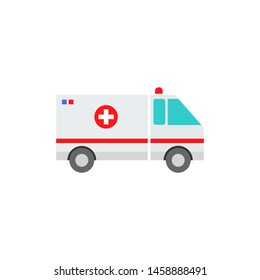 ambulance vehicle flat design concept, icon isolated white background