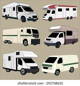 Ambulance vehicles vector image design set.