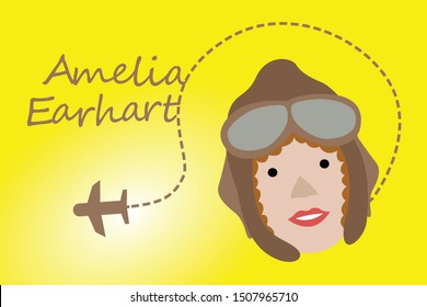 Amelia Earhart With Airplane Shadow in The Sky - Vector Illustration
