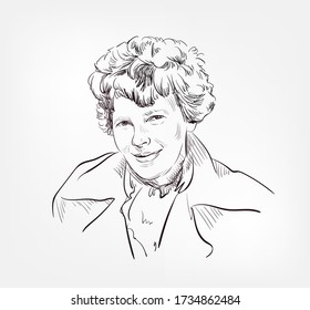 Amelia Earhart famous American  aviation pioneer and author vector sketch portrait