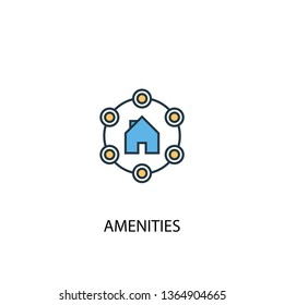 Amenities concept 2 colored line icon. Simple yellow and blue element illustration. Amenities concept outline symbol design