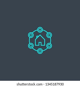 Amenities concept blue line icon. Simple thin element on dark background. Amenities concept outline symbol design. Can be used for web and mobile UI/UX