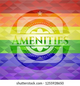 Amenities emblem on mosaic background with the colors of the LGBT flag