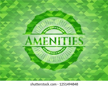 Amenities realistic green emblem. Mosaic background