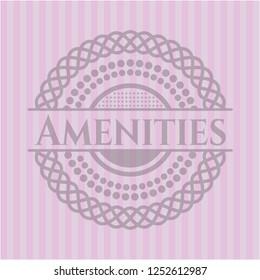 Amenities retro style pink emblem