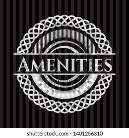 Amenities silvery shiny badge. Vector Illustration. Mosaic.