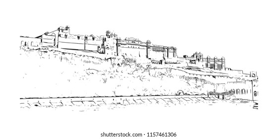 Amer Fort (Amber Fort) is a fort located in Amer, Rajasthan, India. Handdrawn sketch illustration in vector.