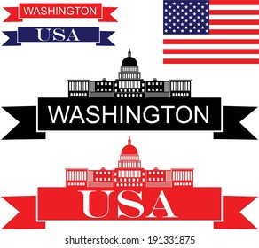 America. Abstract buildings on white background