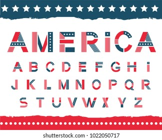 America alphabet set. Letters in national flag design, stripes of red and blue, white stars ornament for festive decoration, Vector flat style cartoon illustration