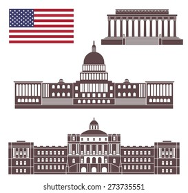 America buildings logo. Abstract America buildings on white background