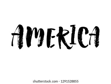 America calligraphy template text for your design illustration concept. Handwritten lettering title vector words on white isolated. Modern brush calligraphy for your design.