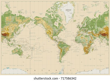 America Centered Physical World Map On Retro White. Vector illustartion.
