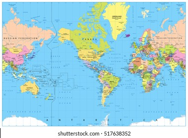 World map america center bathymetry highly vector de stock517582264 america centered political world map highly detailed vector illustration of world map gumiabroncs Image collections
