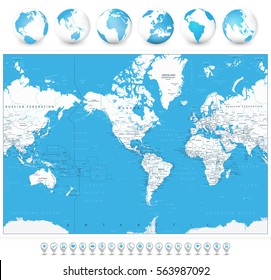 America Centered World Map and 3D globes and navigation icons. Highly detailed vector illustration of World Map with America in center.