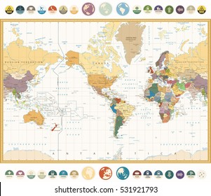 America Centered World Map with flat icons and globes.Vintage colors. Highly detailed vector illustration of World Map.