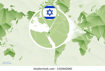 Abstract Blue World Map Magnified Israel Stock Vector (Royalty Free ...