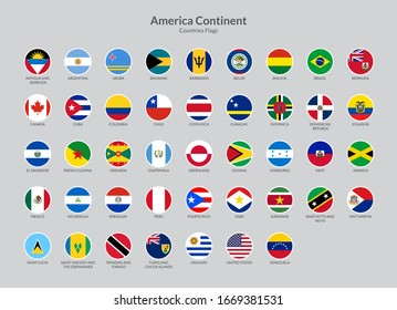America Continent countries flag icons collection