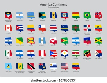 America Continent Countries flag icons collection, Chat flag icons