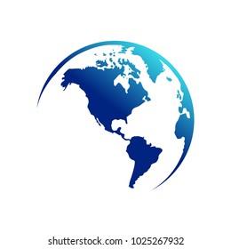 America Continent Map Globe