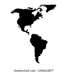America Continent Map Vector Illustration Black on a White Background