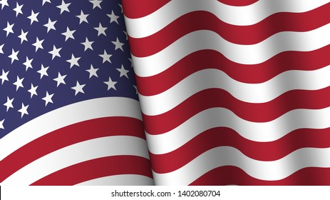America flag background collection . Waving design . Ratio 16 : 9 . 4th of July independence day concept . Vector .