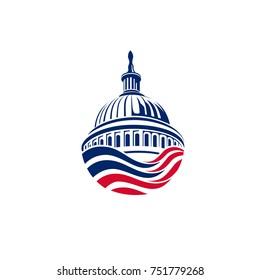America Flag Capitol Building Logo and Illustration