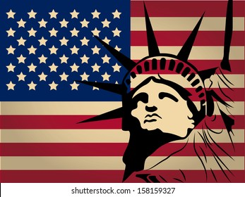 the america flag with colors and the silhouette of statue of liberty
