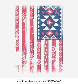 America flag ethnic indian illustration, typography, t-shirt graphics, vectors