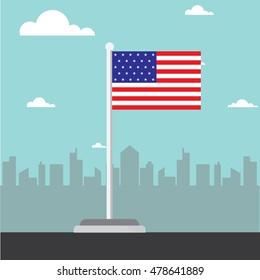 america flag flat design vector