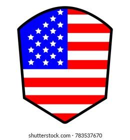 America Flag, Flat Vector Shield