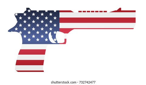 america flag in handgun shape on white background