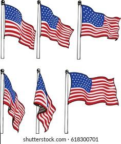America flag hanging on pole