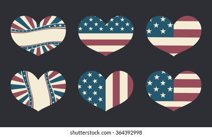 America Flag In Heart Shape