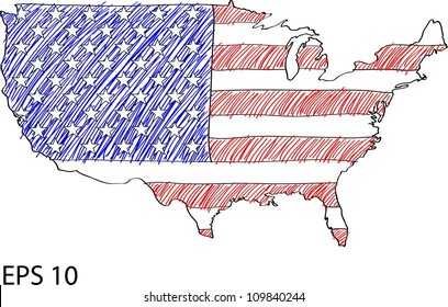 America Flag Map Vector Sketch Up in USA, EPS 10.