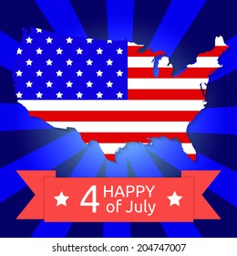 America flag on the American territory with text happy 4 of July