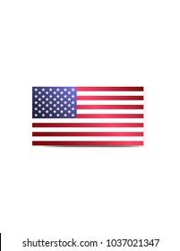 America flag on white background