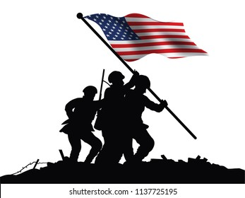 America flag and soldiers vector drawing