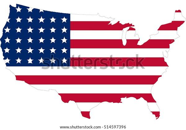 Amerika Flagge In Der Us Amerikanischen Karte Die Stock