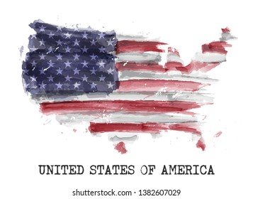 America flag watercolor painting design . Country map shape . Independence day ( 4 July 1776 ) and sports team concept . Vector .
