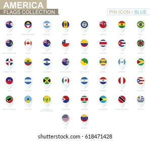 America flags collection. Big set of blue pin icon with flags of American countries. Vector Illustration.