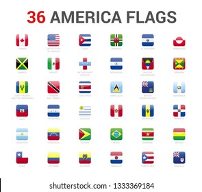 America flags of country. 36 flag rounded square icons Vector on White background.