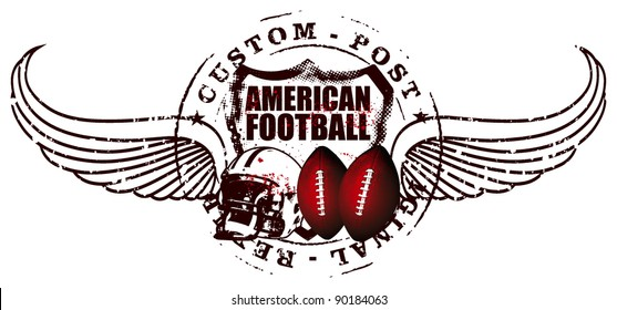 america football post with wings