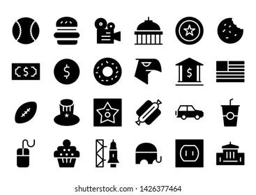 America glyph icon symbol set