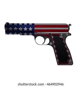 America Gun Pistol Crime Isolate Vector