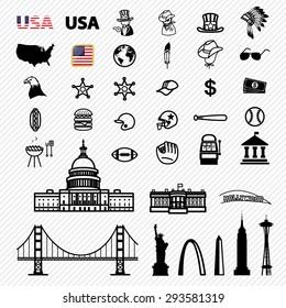 America icons set. illustration eps10