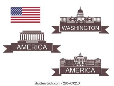 America landmarks. Logo. Isolated America buildings on white background