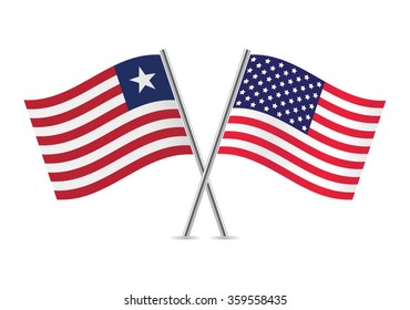America and Liberia flags. Vector illustration.