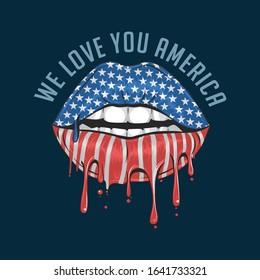 AMERICA LIPS FLAG WE LOVE YOU AMERICA ARTWORK VECTOR