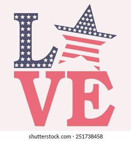 America love typography, t-shirt graphics, vectors